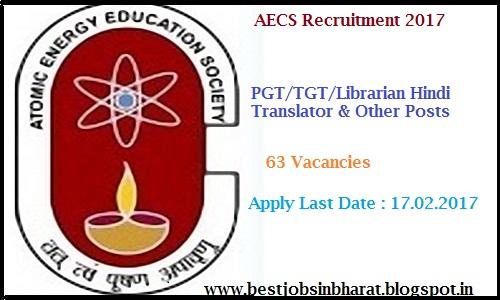 aecs recruitment 2017 apply 63 pgt tgt primary teacher posts