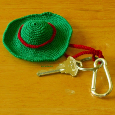 Red and Green Sombrero Hat Key Chain Handmade By RSS Designs In Fiber