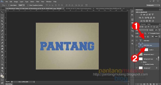 Cara Membuat Tulisan 3D Efek Retro di Photoshop