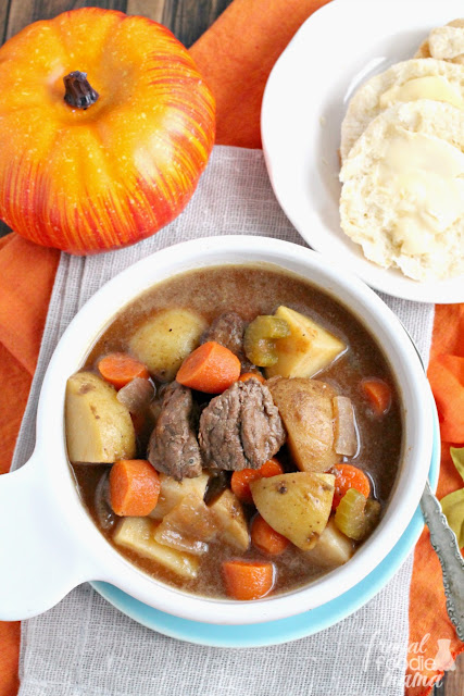 Stay warm & cozy even when it is cold & blustery outside with this hearty & flavorful Slow Cooker Pumpkin Ale Beef Stew.