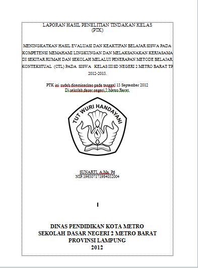 Contoh Laporan Ptk Sd Kelas 3 Kumpulan Contoh Laporan