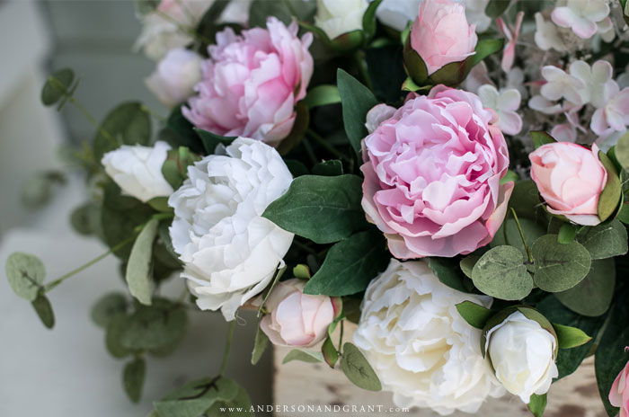 White and pink peonies with eucalyptus