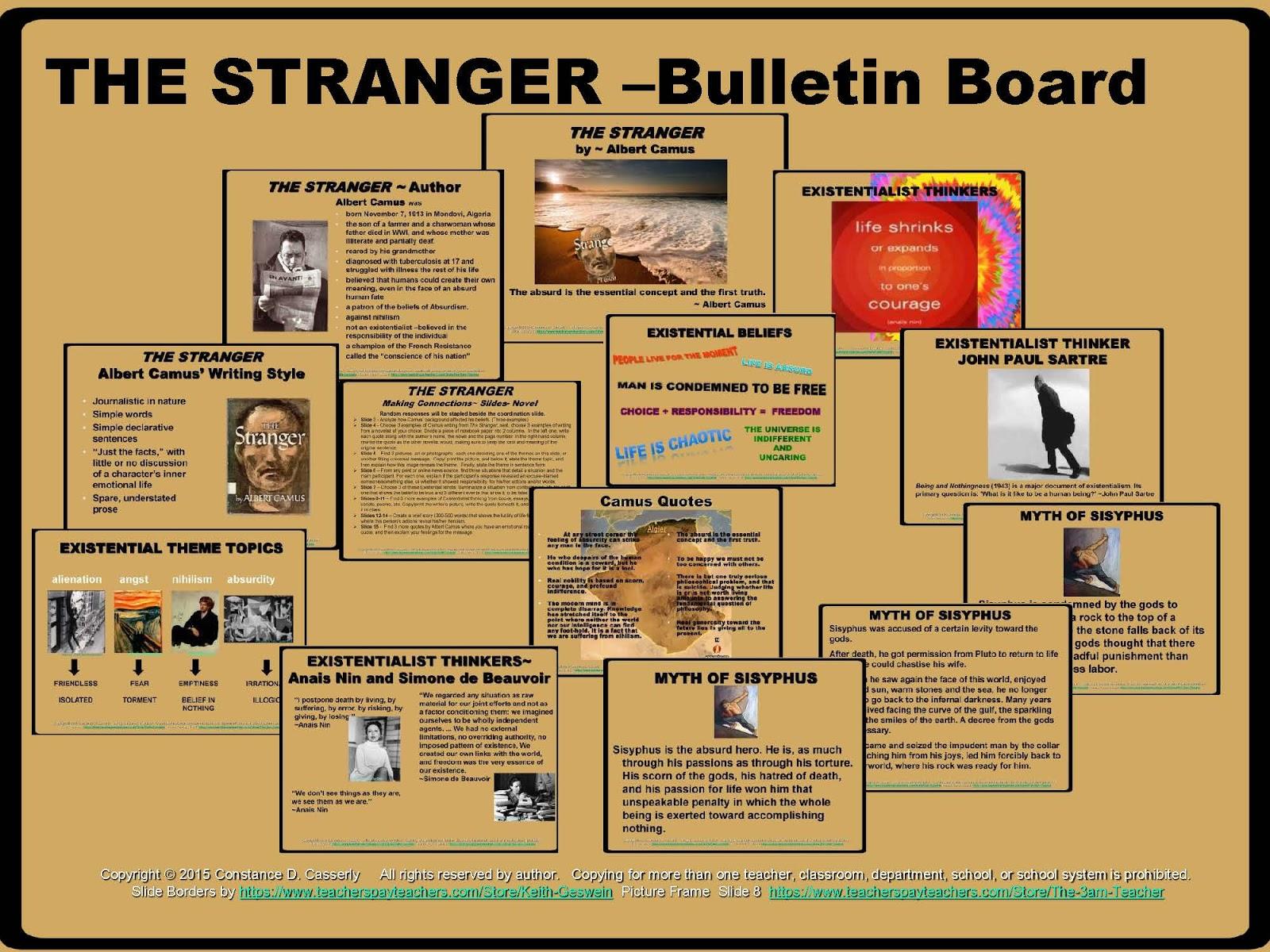 albert camus the stranger essay the stranger albert camus quotes  teach it write english teachers the stranger bundle offers a the stranger bulletin board albert camus