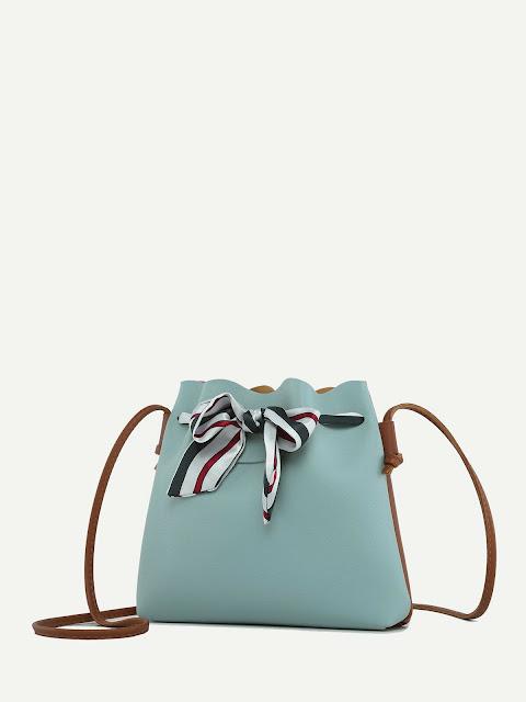 Striped Bow Decor Bag