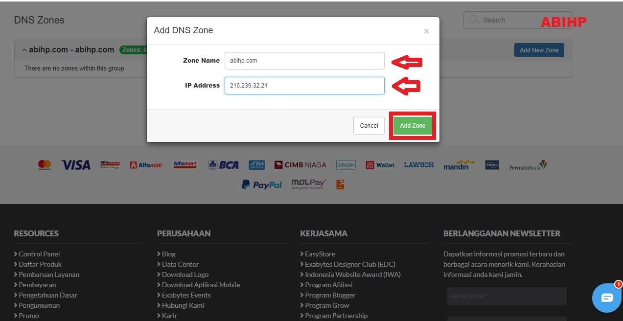 Masukkan nama domain dan ip address.