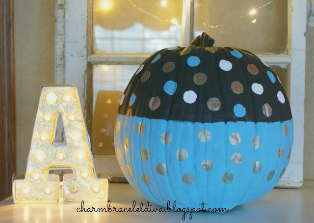 painted polka dot faux pumpkins