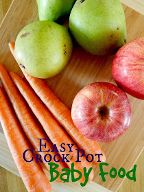 Easy Crock Pot Baby Food...pick a combo of fruits and vegetables, let it cook down all day while you tend to the kids, puree it up and viola!  Homemade baby food without much fuss. (sweetandsavoryfood.com)