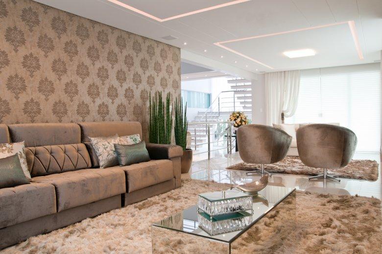 Minha Casa Clean 13 Salas Modernas  com Papel de Parede Adamascado