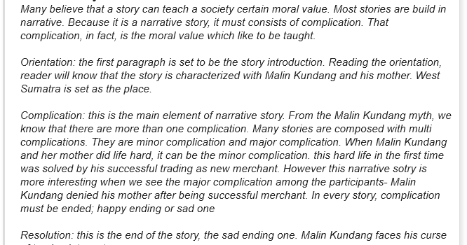 contoh narrative text dalam fable dan generic structure