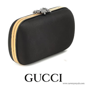Meghan Markle carries Gucci Broadway Butterfly Embellished Black Satin Clutch
