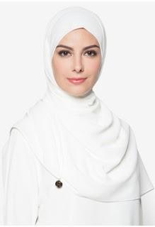 Jilbab Instan Warna Putih Casual