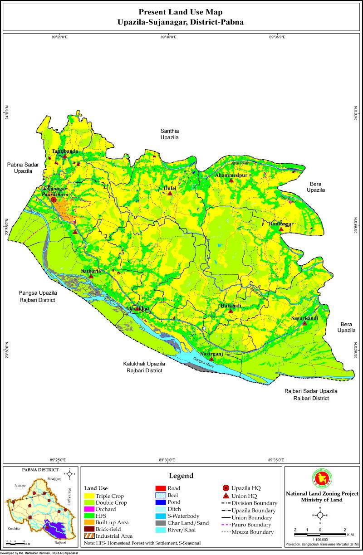 Sujanagar Upazila Mouza Map Pabna District Bangladesh