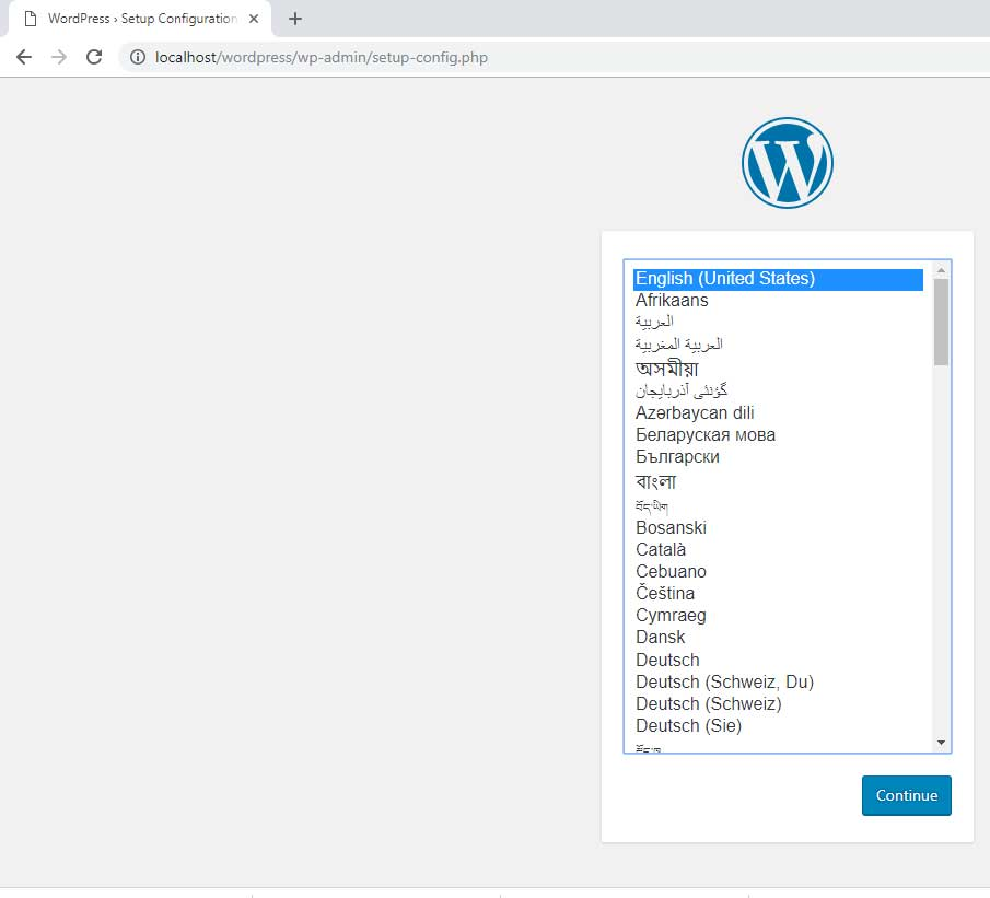 Change WordPress install language