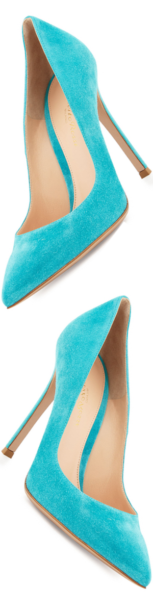 Gianvito Rossi Gianvito Suede Point-Toe 105mm Pump, Cyan