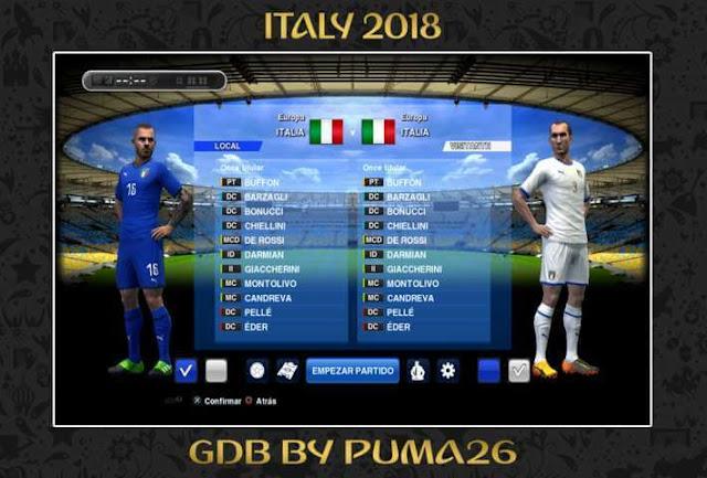 Italy 2018 Kits PES 2013