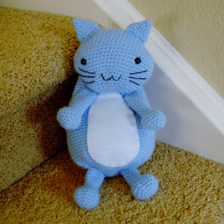 Crochet baby blue kitty cat plushie backpack