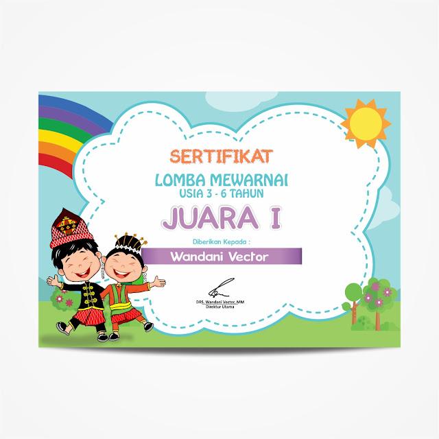 Certificate Design, Sertifikat, Mewarnai, Children