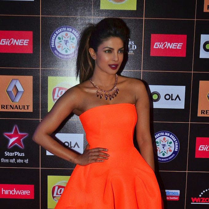 Priyanka Chopra Orange Strapless Dress at the Star Guild Awards 2015
