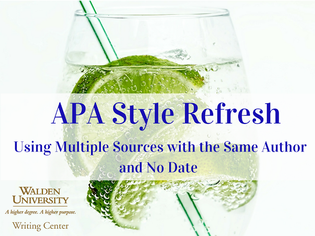 APA Refresh:  Using Multiple Sources with the Same Author and No Date
