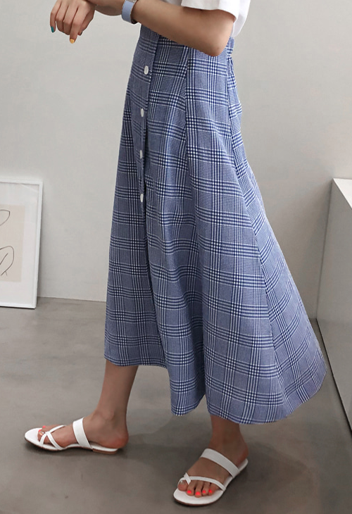 Button-Down Check Skirt