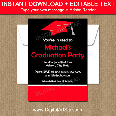 printable college graduation party invitations in black & red with white accents