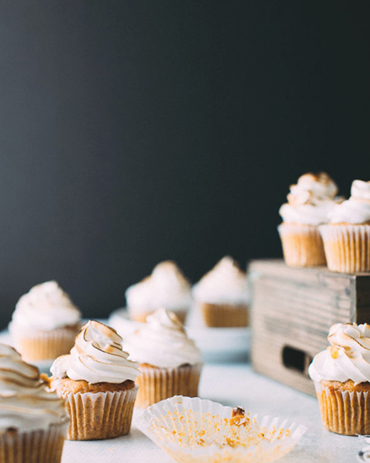 Sweet Potato Cupcakes with Toasted Marshmallow Frosting . Foodess .