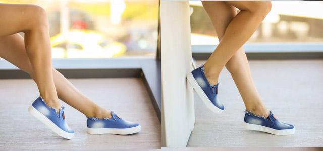 Tenisi femei ca din blugi cu rupturi albastri ieftini vara toamna