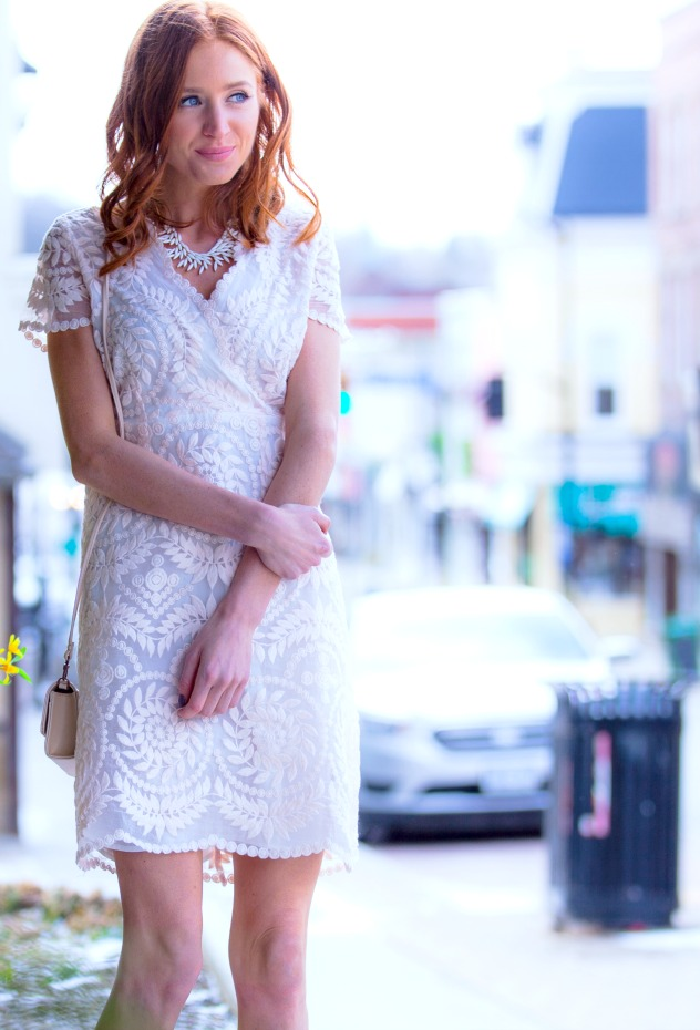 Nude, lace dress by Darling London, Matt & Nat bag