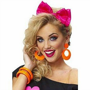 80s Girl - pink hair bow with neon orange earrings and bangles