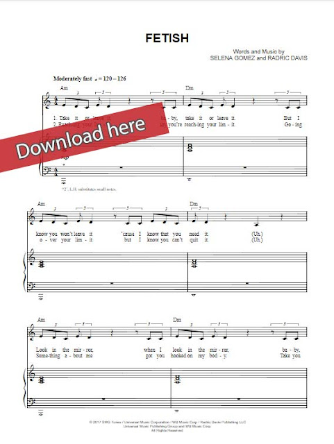 selena gomez, fetish, piano sheet music notes, chords, download, klaiver noten, keyboard, guitar, tabs, how to play, tutorial, composition, transpose