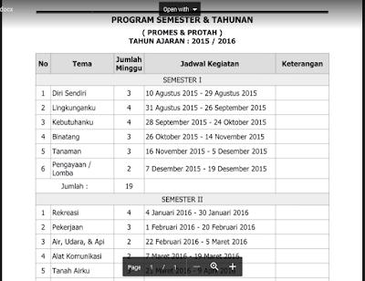 Contoh Program Tahunan PAUD/ TK/ RA/ KB Kurikulum 2013