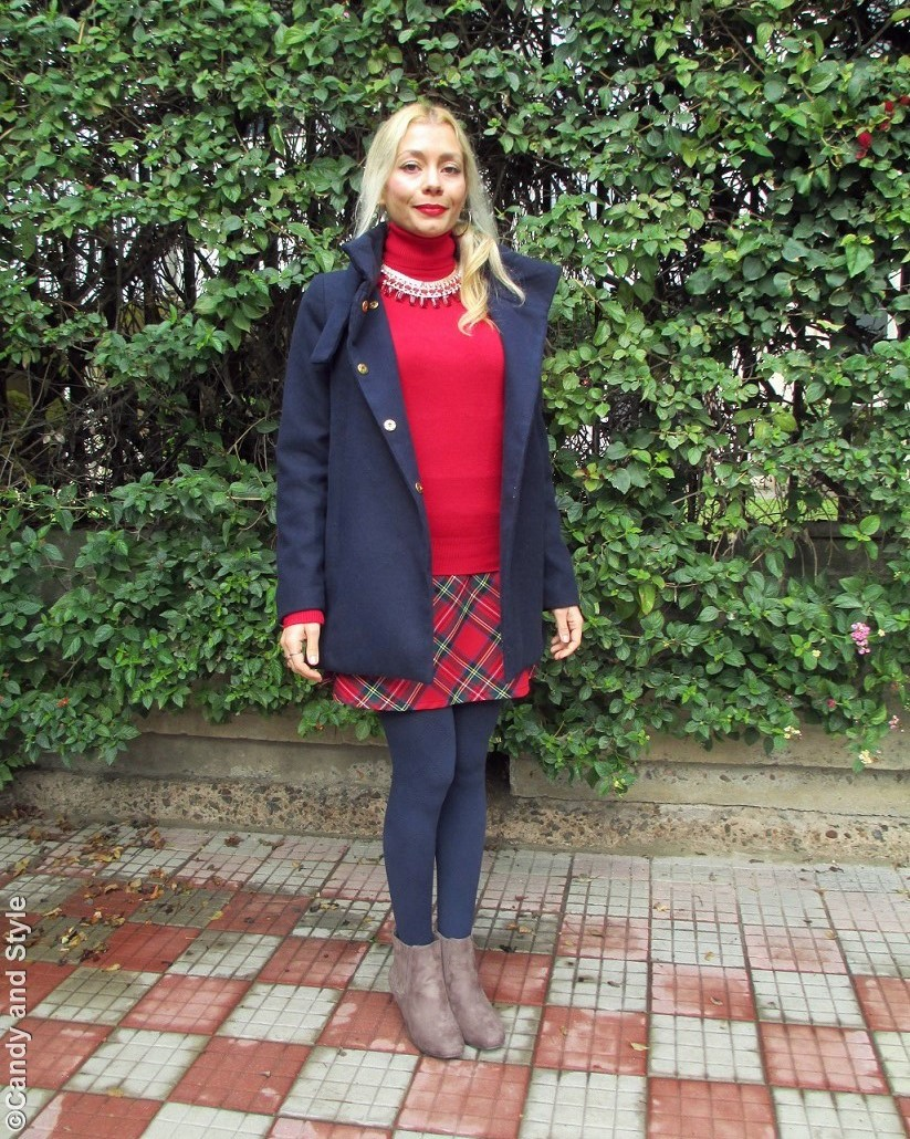 BlueCoat, RedTurtleneckSweater, TartanSkirt, BlueTights, TaupeBooties, RedStatementNecklace - Lilli Candy and Style Fashion Blog
