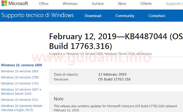Pagina note di rilascio aggiornamento cumulativo KB4487044 per Windows 10 v1809