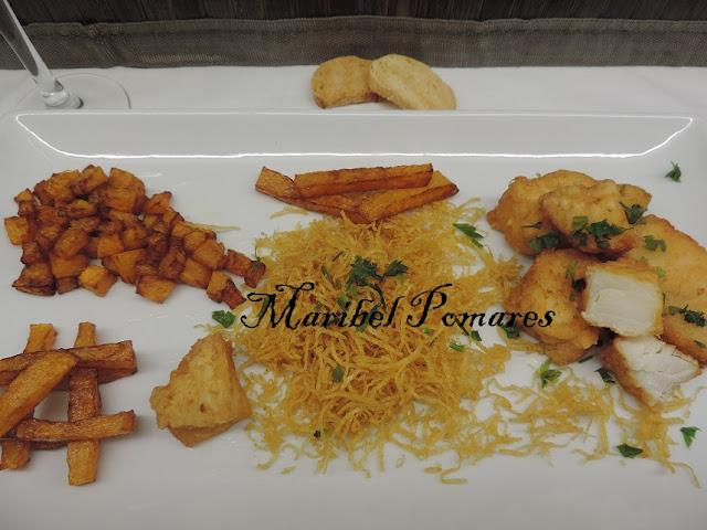 Bacalao Rebozado Con Calabaza Frita Y Patatas Paja Recetas De Cocina - Recetas-de-calabaza-frita