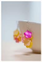 boucles d'oreilles fleurs nacre jaune et rose