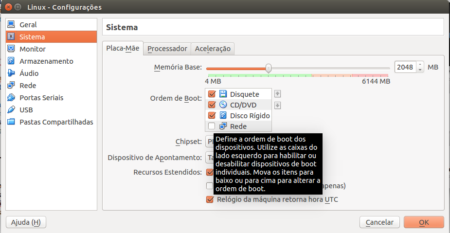 Configurações do VirtualBox