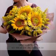 rangkaian bunga matahari, bunga ucapan wisuda