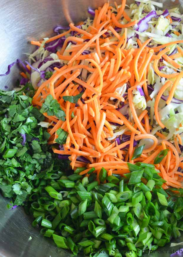 Asian Coleslaw with cabbage, carrots, green onion and cilantro from Serena Bakes Simply From Scratch.