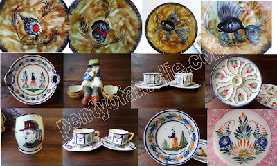 Authentic Quimper Wares Antique pieces and Seafood, Fish patterns signed Local Artists, Henriot HB Faiencerie in Brittany France