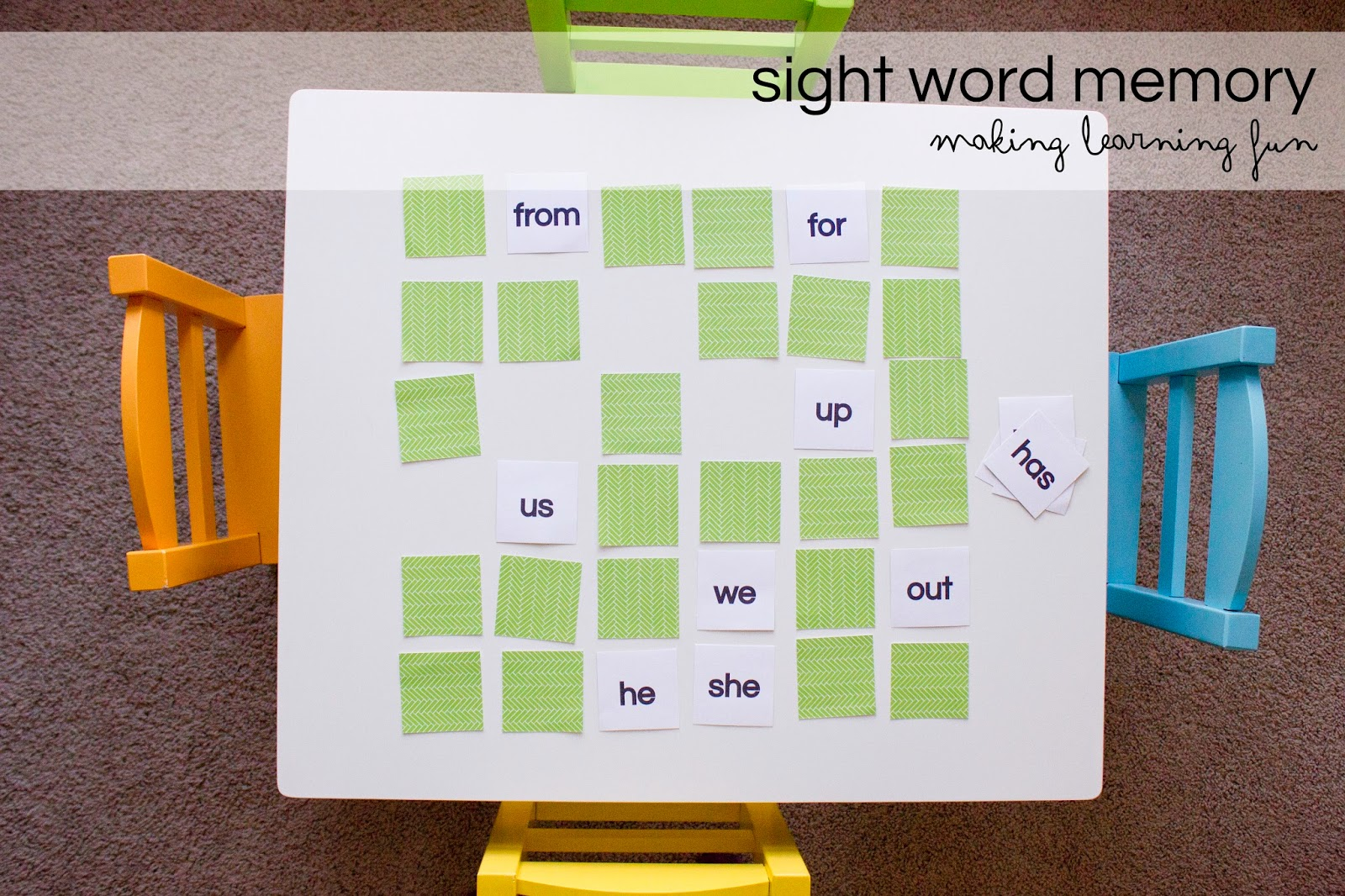 Match Game: Sight Word Memory Match | Worksheet ... |Sight Word Memory