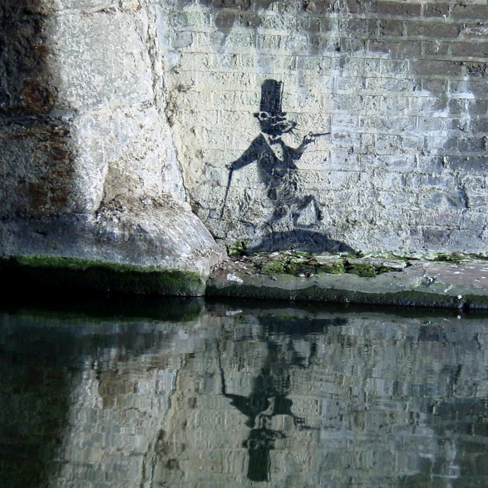 Banksy top hat rat, Regents Canal, Camden