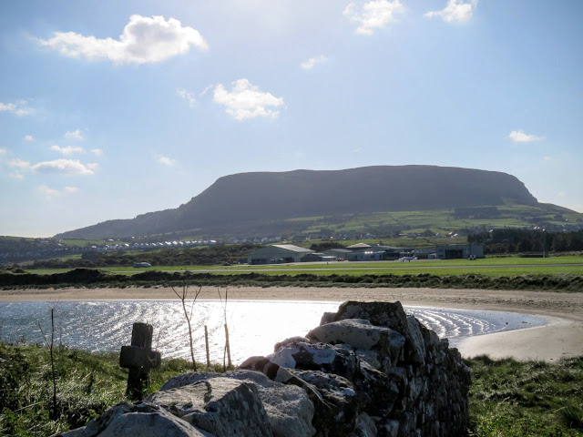 Knocknarea in County Sligo, Ireland viewed from Killaspugbrone Church ruins