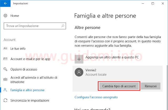 Windows 10 impostazioni Famiglia e altre persone pulsante Cambia tipo di account