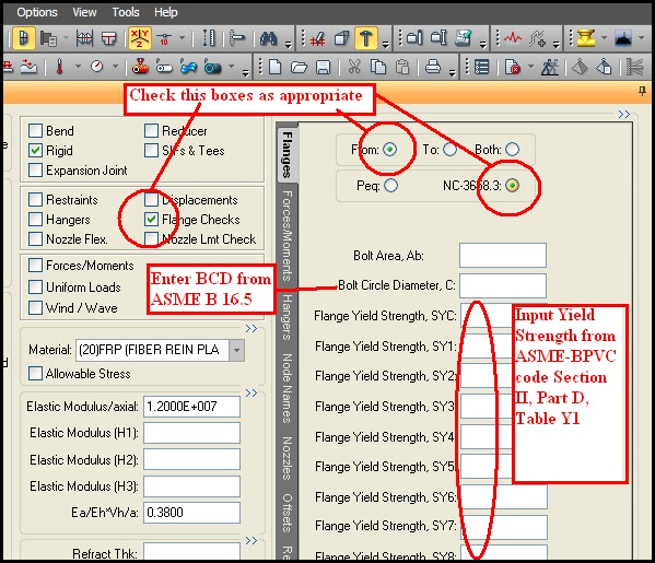 Input Spreadsheet from Caesar II for flange leakage check by NC 3658.3 method