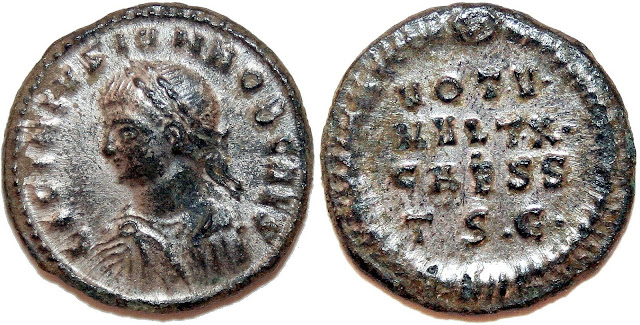 Moneda a nombre del joven césar Licinio II