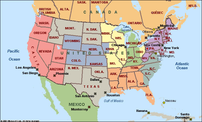 Map Of North America With States.North America States Map