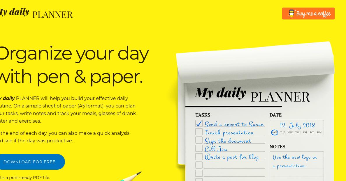My daily PLANNER 一日一頁習慣筆記免費列印,用紙筆而非 App 練習
