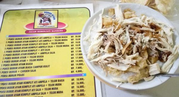 Kuliner bubur ayam gibbas bandung
