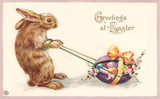 Antique vintage Easter Post Card postcard with bunny