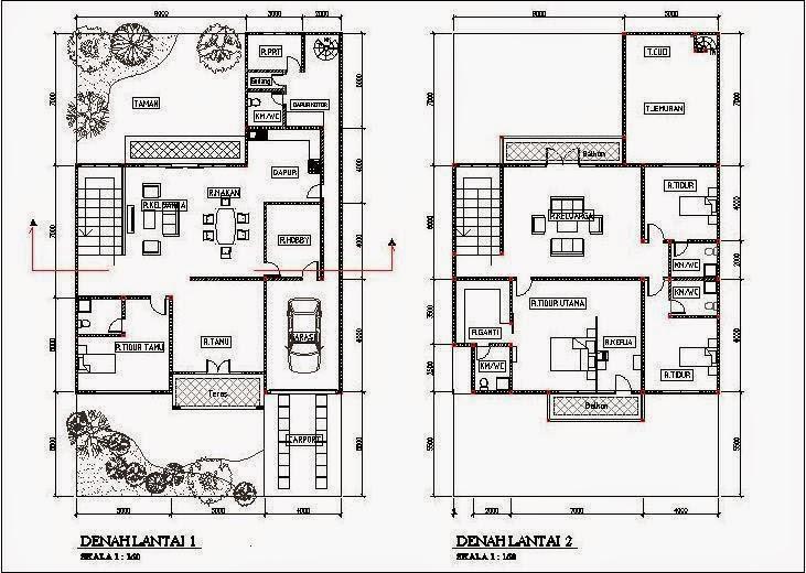 9 Denah Rumah Minimalis 2 Lantai Type 60 dengan gambarnya